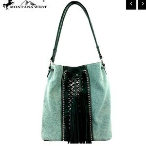 NWT • turquoise canvas leather bucket bag